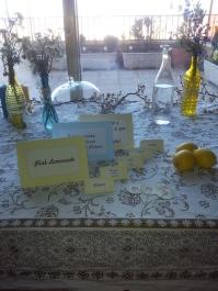 cartelitos amarillos y azules