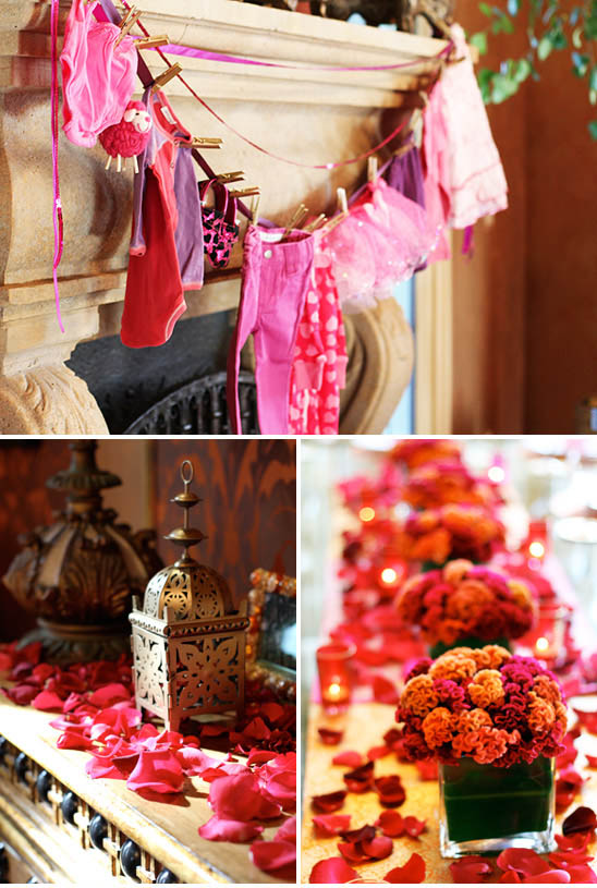 babyshower oriental - ropita y flores