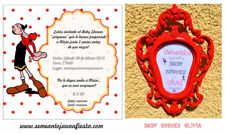 babyshower Olivia - invitacion y cartel bienvenida