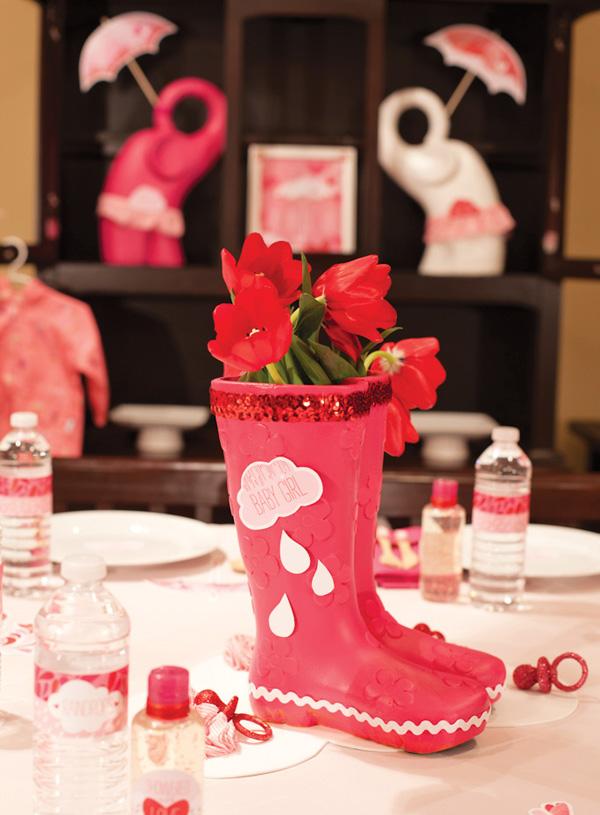 babyshower rosa botas de agua