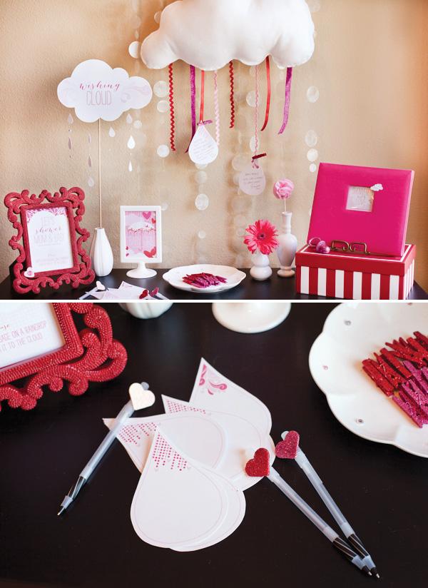 babyshower rosa mensajes en gotas