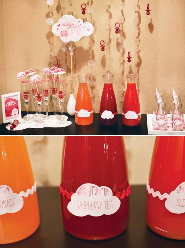 babyshower rosa mesa bebidas
