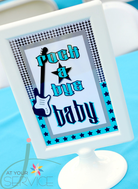 babyshower azul rock - cartel