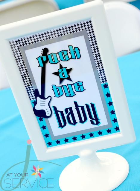 babyshower azul rock - cartel