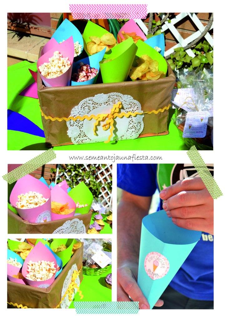 babyshower helados - conos patatas y palomitas