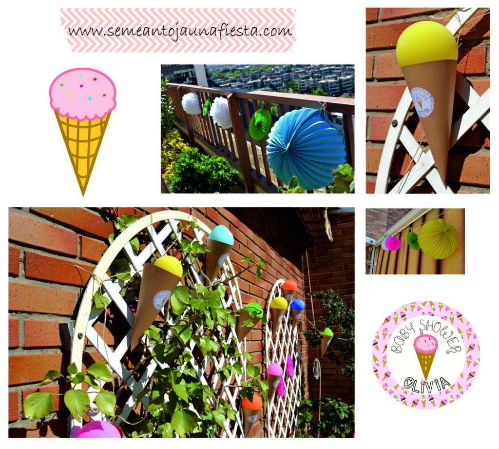 babyshower helados - guirnaldas helados y decoraciones