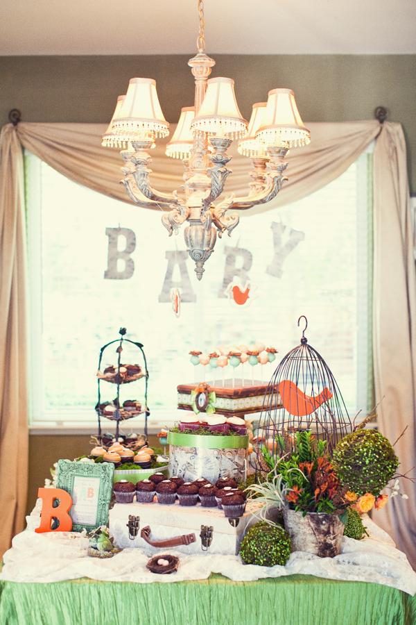 babyshower pajaritos campestre verde naranja