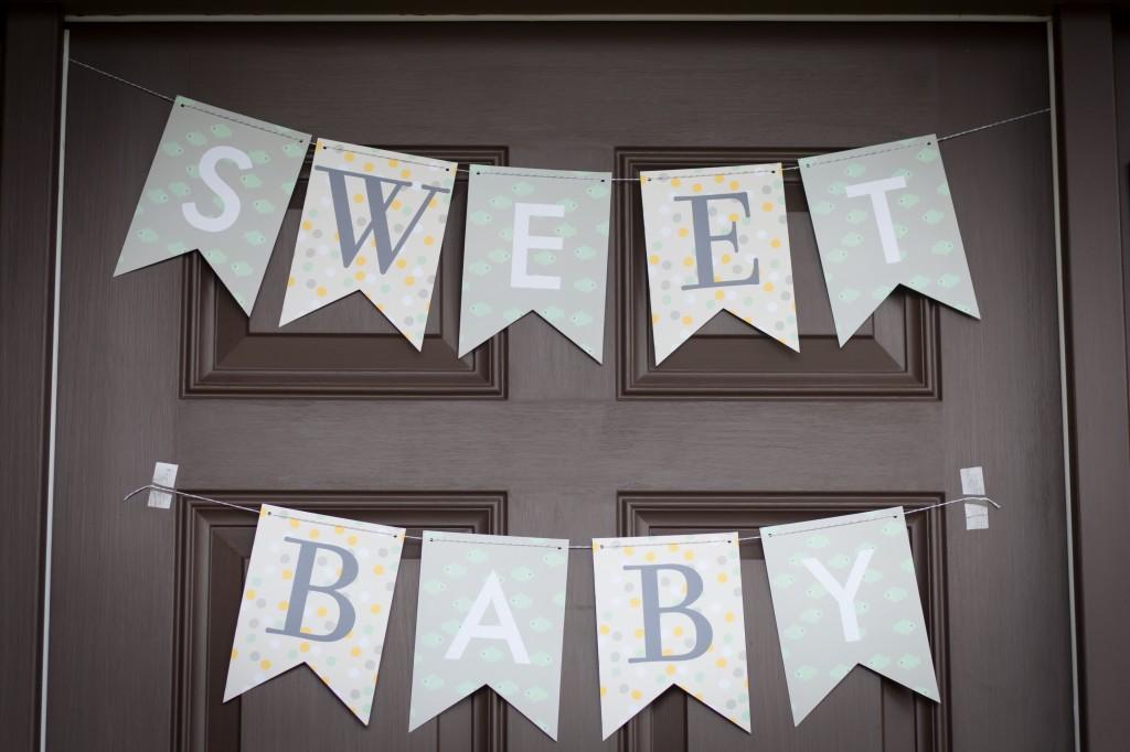 babyshower verde mint - cartel bienvenida