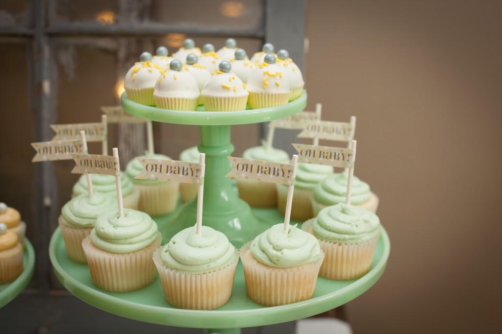 babyshower verde mint - cupcakes