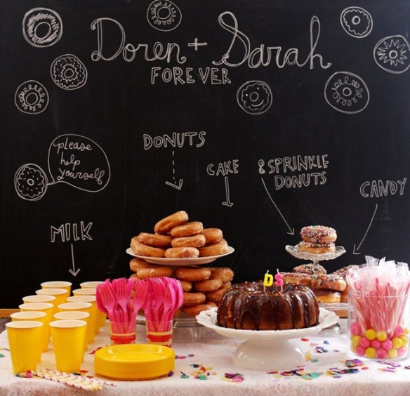 fiesta donut con pizarra detrás