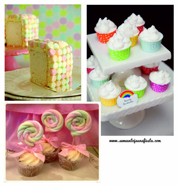 marshmallow cupcakes y tarta babyshower