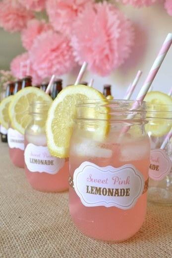 Fiesta pink lemonade - limonada rosa - mason jars