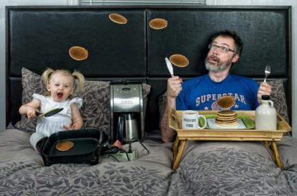 el mejor padre del mundo - haciendo pancakes