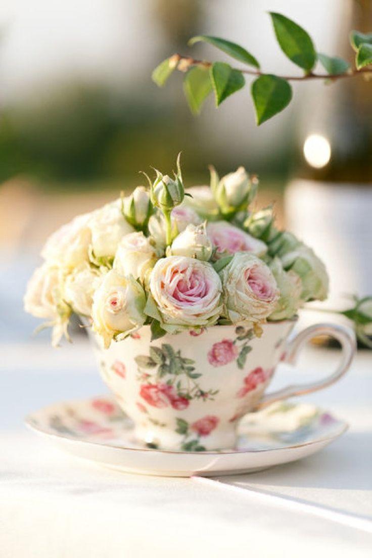 babyshower tea party - taza flores
