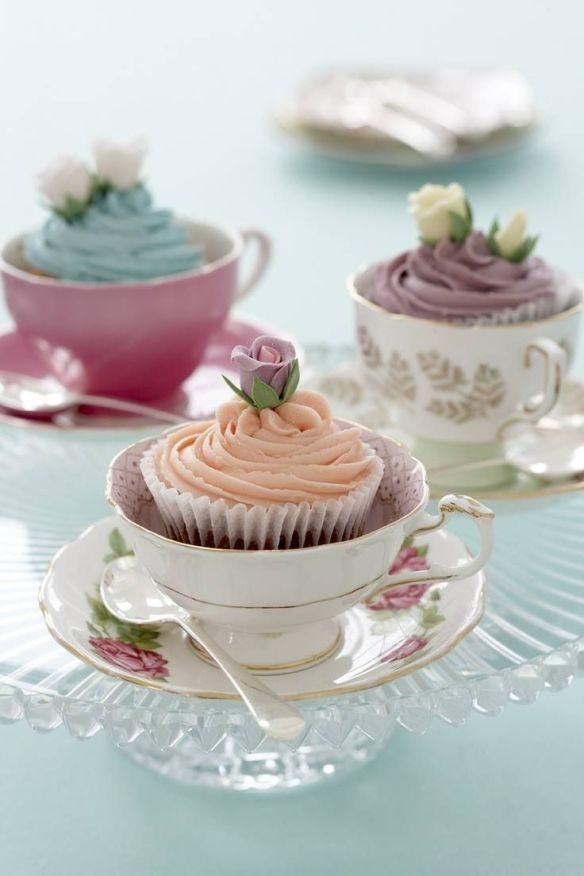 babyshower tea party - tazas cupcakes
