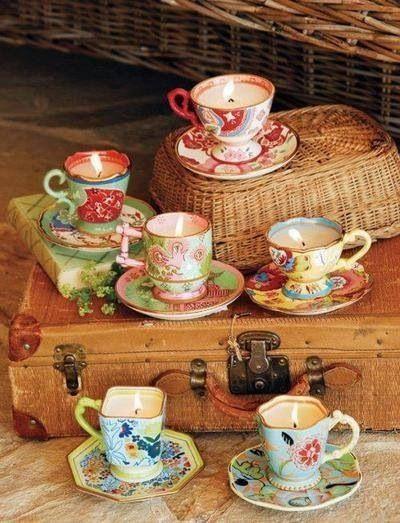 babyshower tea party - tazas velas